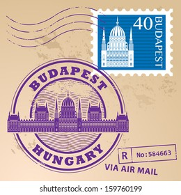 Grunge rubber stamp set with words Budapest, Hungary inside, vector illustration