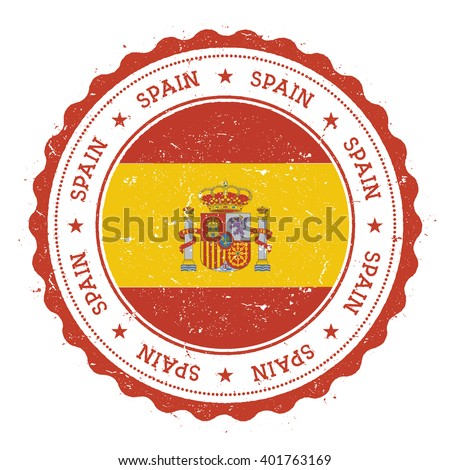 Grunge Rubber Stamp With Spain Flag Vintage Travel Circular Text Stars And