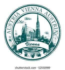 Grunge rubber stamp with St. Stephen's Cathedral and the word Vienna, Austria inside, vector illustration