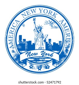 Grunge rubber stamp with Statue of Liberty and the word New York, America inside, vector illustration