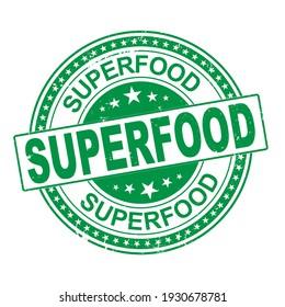 Grunge rubber stamp Superfood,vector illustration ON WHITE