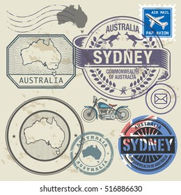 Grunge rubber stamp and symbols set with text and map of Australia, vector illustration