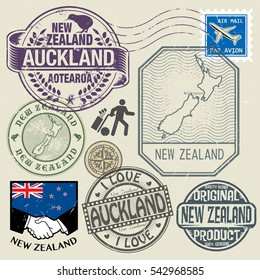 Grunge rubber stamp and symbols set with text and map of New Zealand, vector illustration