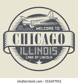 Grunge rubber stamp or tag with text Welcome to Chicago, Illinois, vector illustration