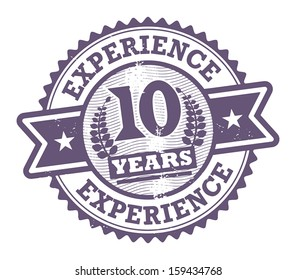 Grunge rubber stamp with the text 10 Years Experience written inside, vector illustration