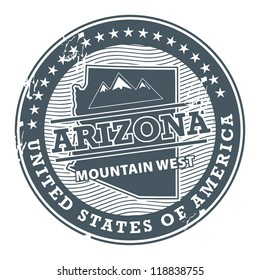 Grunge rubber stamp with text Arizona, Mountain West, vector illustration