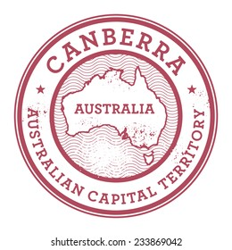 Grunge rubber stamp with the text Australia, Canberra written inside the stamp, vector illustration
