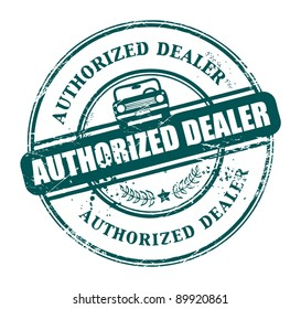 Grunge rubber stamp with the text authorized dealer written inside the stamp, vector illustration