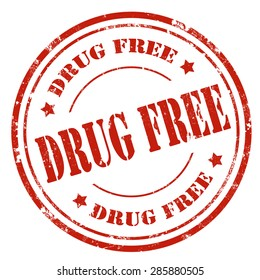 Grunge rubber stamp with text Drug Free,vector illustration