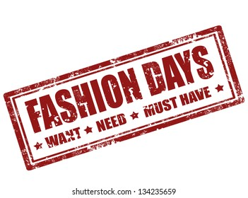 Grunge rubber stamp with text fashion days inside ,vector illustration