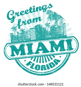 Grunge rubber stamp with text Greetings from Miami, vector illustration