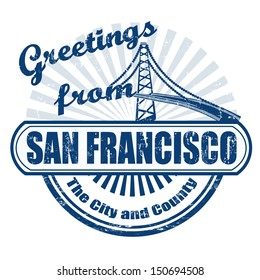 Grunge rubber stamp with text Greetings fromSan Francisco, vector illustration