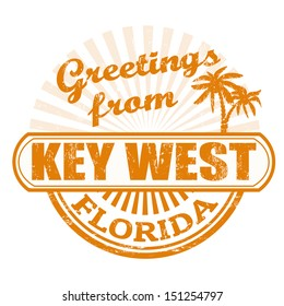 Grunge rubber stamp with text Greetings from Key West, Florida, vector illustration