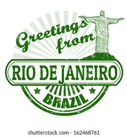 Grunge rubber stamp with text Greetings from Rio de Janeiro, vector illustration