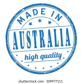 """grunge rubber stamp with text """"made in Australia, high quality"""" on white, vector illustration"""