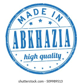 """grunge rubber stamp with text """"made in Abkhazia, high quality"""" on white, vector illustration"""