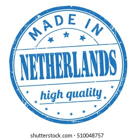 """grunge rubber stamp with text """"made in Netherlands, high quality"""" on white, vector illustration"""