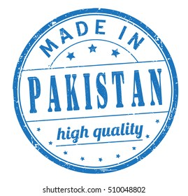 """grunge rubber stamp with text """"made in Pakistan, high quality"""" on white, vector illustration"""
