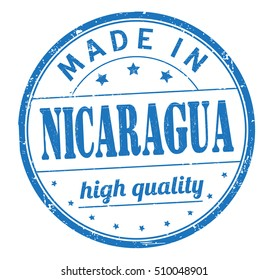 """grunge rubber stamp with text """"made in Nicaragua, high quality"""" on white, vector illustration"""