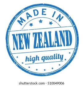 """grunge rubber stamp with text """"made in New Zealand, high quality"""" on white, vector illustration"""