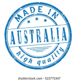 """grunge rubber stamp with text """"made in Australia"""" on white, vector illustration"""