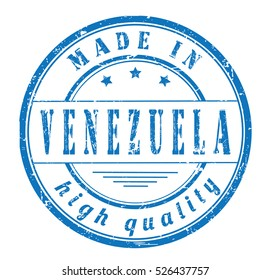"""grunge rubber stamp with text """"made in Venezuela, high quality"""" on white, vector illustration"""