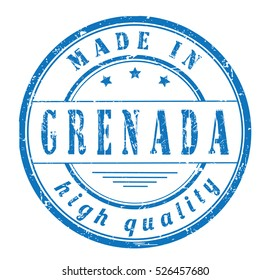"""grunge rubber stamp with text """"made in Grenada, high quality"""" on white, vector illustration"""