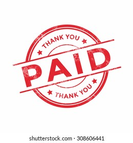 Grunge rubber stamp with the text Paid and Thank you