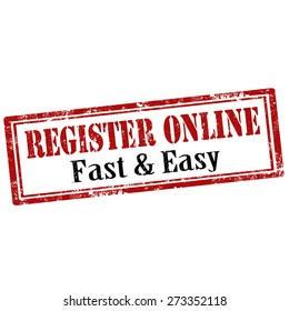 Grunge rubber stamp with text Register Online,vector illustration