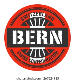 Grunge rubber stamp with the text Switzerland, Bern, vector illustration