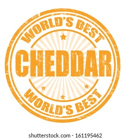 Grunge rubber stamp with the word Cheddar written inside the stamp