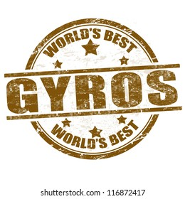 Grunge rubber stamp with the word gyros written inside the stamp