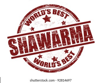 Grunge rubber stamp with the word shawarma written inside the stamp