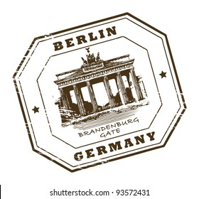 Grunge rubber stamp with words Berlin, Germany inside, vector illustration