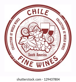 Grunge rubber stamp with words Chile, Fine Wines, vector illustration