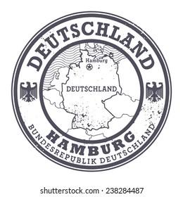 Grunge rubber stamp with words Deutschland, Hamburg inside, vector illustration