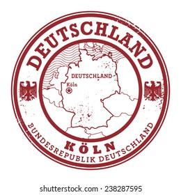 Grunge rubber stamp with words Deutschland, Koln inside, vector illustration