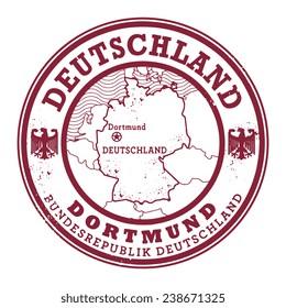 Grunge rubber stamp with words Deutschland, Dortmund inside, vector illustration