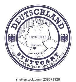 Grunge rubber stamp with words Deutschland, Stuttgart inside, vector illustration