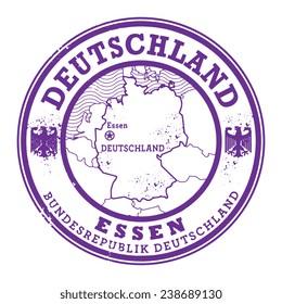 Grunge rubber stamp with words Deutschland, Essen inside, vector illustration