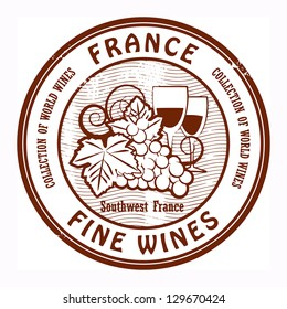 Grunge rubber stamp with words France, Fine Wines, vector illustration