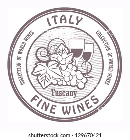 Grunge rubber stamp with words Italy, Fine Wines, vector illustration