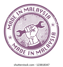 Grunge rubber stamp with words Made in Malaysia inside, vector illustration
