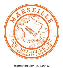 Grunge rubber stamp with words Marseille, France inside, vector illustration