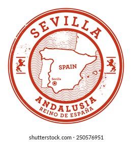 Grunge rubber stamp with words Sevilla, Spain inside, vector illustration