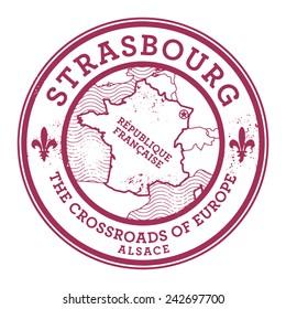 Grunge rubber stamp with words Strasbourg, France inside, vector illustration