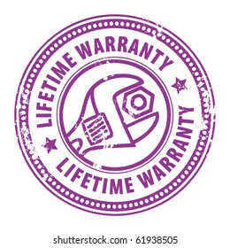 Grunge rubber stamp with wrench and the word Lifetime warranty inside, vector illustration