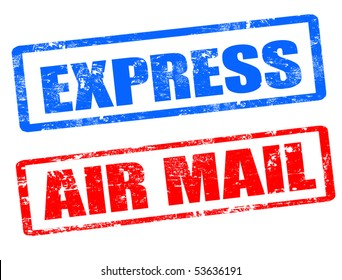 grunge rubber stamps with  the text air mail and express written inside