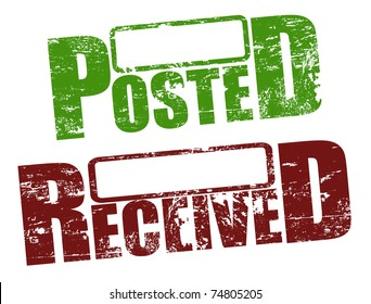 Grunge rubber stamps with words posted and received, vector illustration