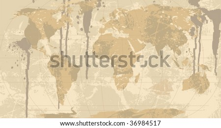 Grunge Rustic World Map All Elements Stock Vector Royalty Free